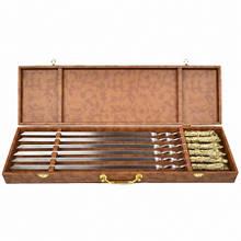 """Набір шампурів ручної роботи """"Мисливські"""", рукоять бронза (3х10мм, 60см), 6 шт. в кейсі"""