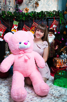 """Плюшевый мишка """"Бантик"""", розовый, 110 см."""