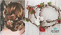 2в1 Гілочка прикраса у зачіску та вінок на голову з квітами ручна робота