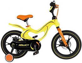 Дитячий двоколісний велосипед Hollicy 16 дюймів жовтий