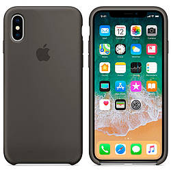 Чехол Apple Silicon Case для iPhone X Dark Olive (Original)