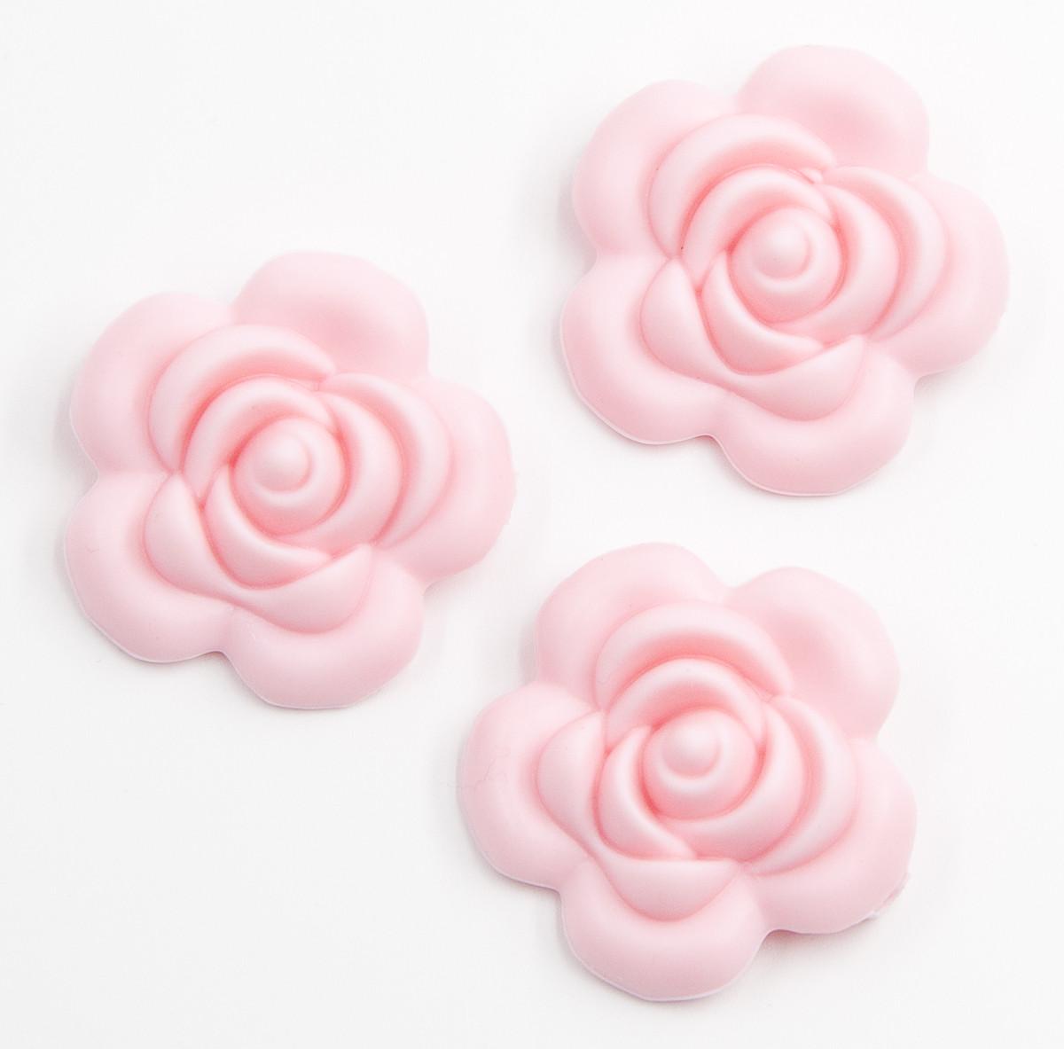 """Силиконовые бусины """"Розы Большие"""" нежно розовые 40 мм"""