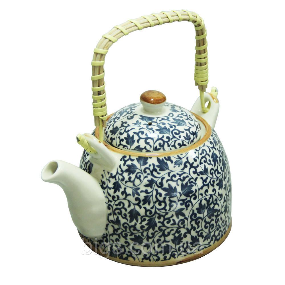 """Чайник с ситом керамический 600 мл """"Голубой узор"""" ( Заварочный чайник )"""