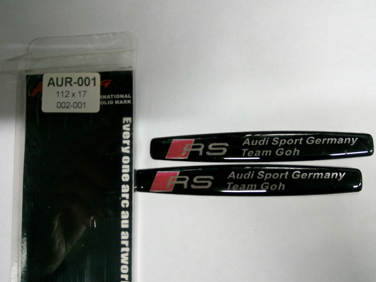 Силиконовые 3D наклейки RS audi sport  112х17 мм  2шт.