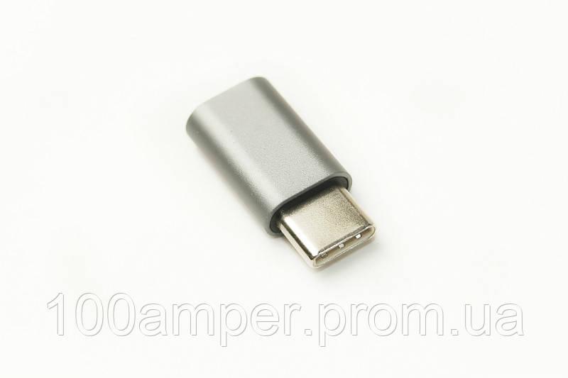 Переходник PowerPlant USB Type C - Micro USB
