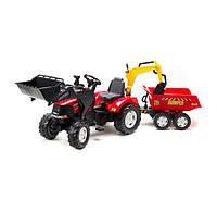 Трактор CASE IH PUMA с двумя ковшами и прицепом Falk 995W. Машинка для детей