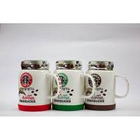 Чашка керамическая кружка Starbucks с крышкой SH 025-1 Green