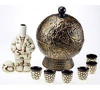Бар глобус - набор керамика 8 предметов, бронза