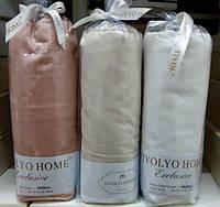 Белая простыня на резинке с наволочками Tivolyo Home 220х240