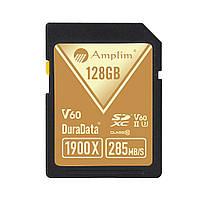 Amplim SD-карта Blazing Fast Read 128GB. Скорость свертывания 1900X 285MB Профессиональная 4K 8K видеосъемка