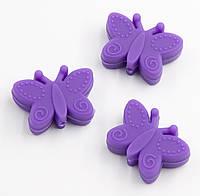 """Силиконовые бусины """"Бабочки"""" фиолетовые 30х22х10 мм"""