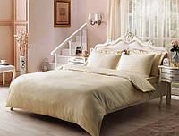 Комплект постельного белья Tivolyo Home  Jacquard Stripe семейный (2 пододеяльника) белый