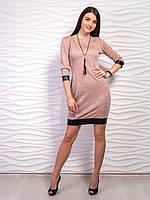 Ангоровое платье с кожаными манжетами, цвета в ассортименте