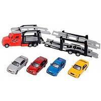 Автотранспортер (красный) с 4 машинками, Dickie Toys