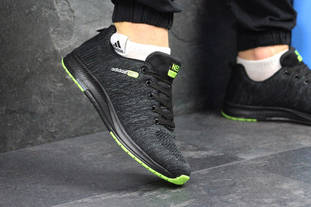 Мужские кроссовки Adidas Neo, черные с салатовым, из сетки (весна-лето) fabc088f067