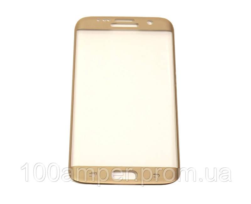 Защитное стекло 3D PowerPlant для Samsung S7 Edge Gold