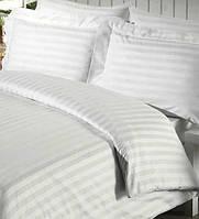 Простынь полуторная белая Hotel Stripe