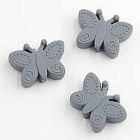 """Силиконовые бусины """"Бабочки"""" серые 30х22х10 мм"""