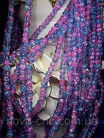 """Бусины """"битое стекло"""" розово-голубые диаметр 6 мм на нитке"""