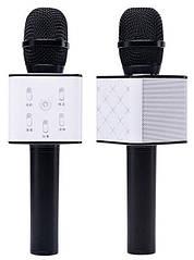 Беспроводной Караоке Микрофон Tuxun Q7 белый с черным с USB, microSD, AUX, Bluetooth