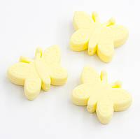 """Силиконовые бусины """"Бабочки"""" нежно желтые 30х22х10 мм, фото 1"""