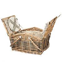 Корзинка для пикника на Пасху + 4 набора посуды (40*30*19 см)