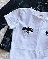 Стильная белая футболка с глазами, фото 1
