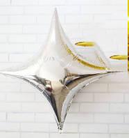 Звезда фольгированная 4-х конечная 60 см, серебро