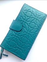 Зеленый, бирюзовый кожаный кошелек женский