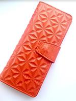 Кожаный женский кошелёк портмоне оранжевого цвета