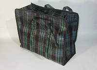 Хозяйственная тканевая сумка прорезиненная 550х700х300 мм в клетку на молнии, фото 1