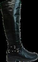 Индивидуальный пошив. Женские демисезонные кожаные сапоги на низком ходу