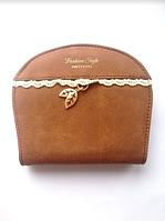 Женский кошелек коричневый , кожаный , маленький полукруглый кошелек