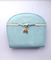 Женский голубой маленький кошелек, портмоне, кожаные сумки