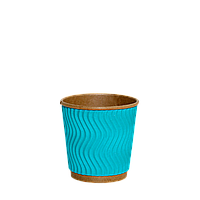 Стакан бумажный гофрированный Крафт Голубой 110мл. 30шт/уп (1ящ/48уп/1440шт)
