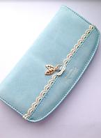 Женский голубой кошелек , замшевый, кожаный