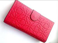 Женский кожаный кошелек розовый, фуксия, портмоне