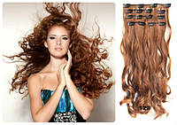 Волосы трессы на заколках ТЕРМО 8 прядей длина 57см  №144/130