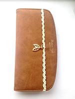 Женский коричневый кошелек , замшевый, кожаный
