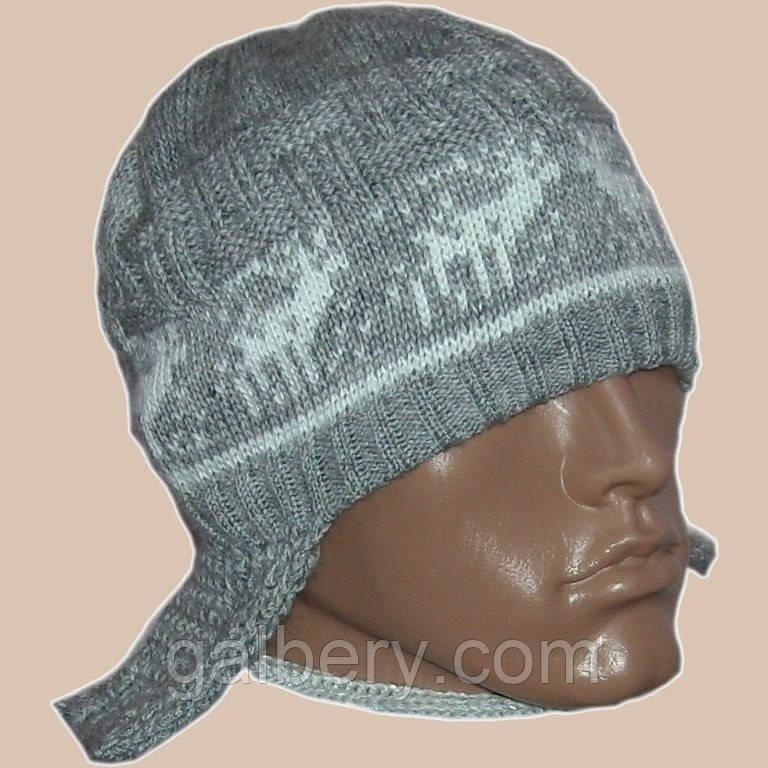Мужская вязаная шапка - ушанка с норвежским орнаментом
