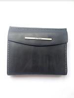 Женский кожаный черный кошелек, портмоне, бумажник