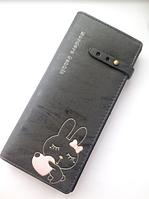 Женский кожаный черный кошелек с зайчиком, дл девочек, портмоне