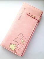 Женский кожаный розовый кошелек с зайчиком, дл девочек, портмоне