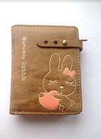 Женский кожаный коричневый кошелек с зайчиком, для девочек, портмоне