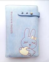 Женский голубой кошелек с зайчиком, для девочек, портмоне, детский
