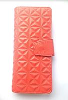 Кожаный женский кошелёк портмоне оранжевого, коралового цвета