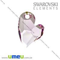 Подвеска Swarovski 6261 Rosaline, 17х13 мм, Дикое сердце, 1 шт. (POD-005652)