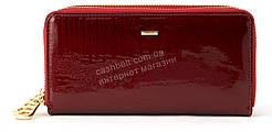 Кожаный прочный женский кошелек барсетка на две молнии SALFEITE art.2547-YF3-44 красный лаковый