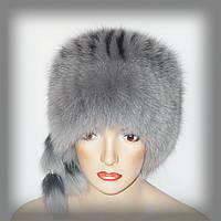 """Меховая шапка из песца """"Кубанка"""" (серо-голубая), фото 1"""