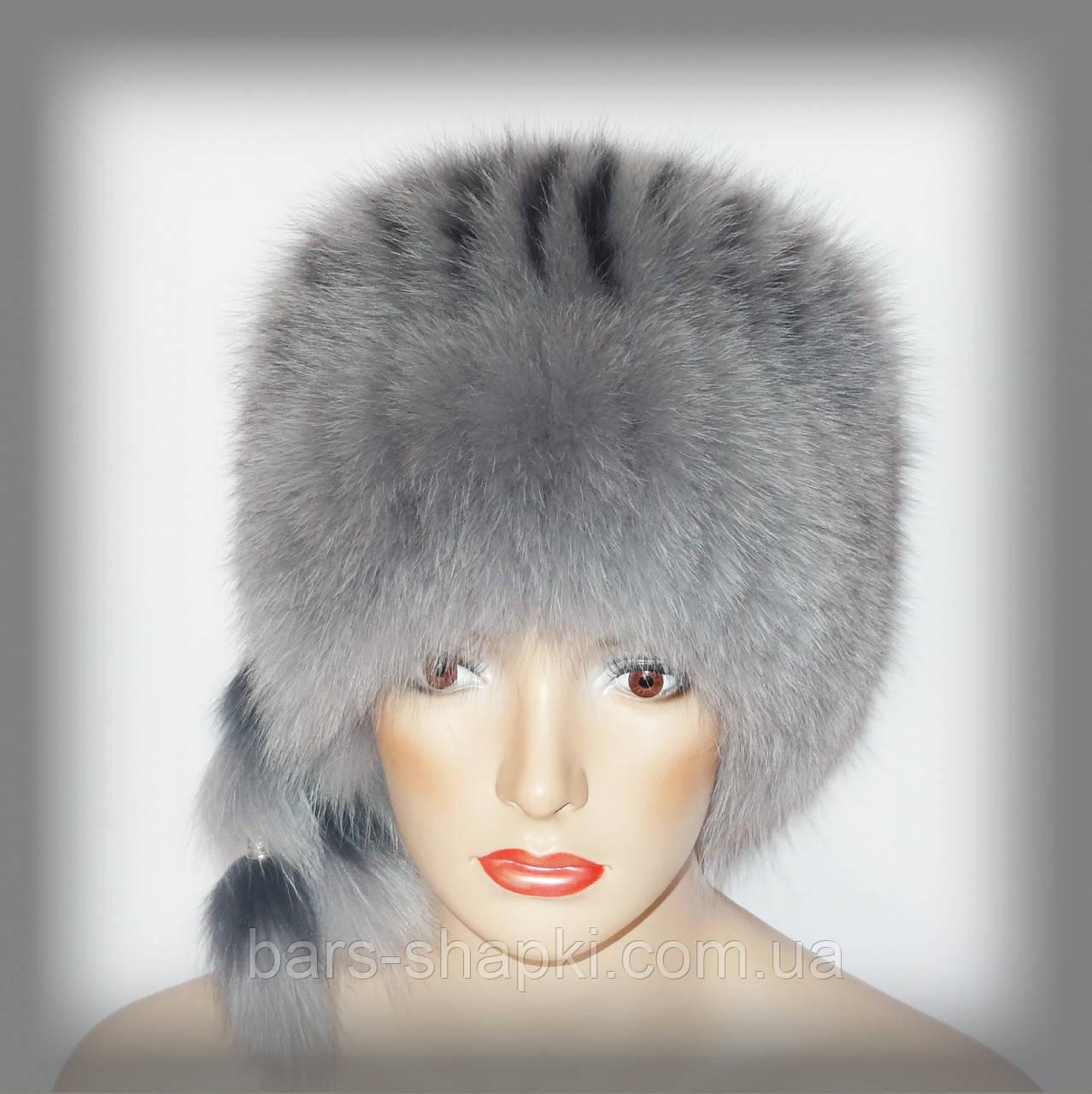 Женская шапка из песца сероголубая